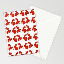 flag Switzerland 3-,Swiss,Schweizer, Suisse,Helvetic,zurich,geneva,bern,godard,heidi Stationery Cards