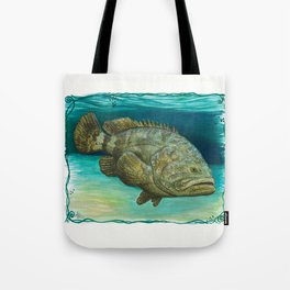 """Goliath Grouper"" by Amber Marine ~ Watercolor Painting, (Copyright 2015) Tote Bag"