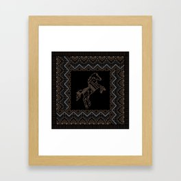 Ethnic pattern with a horse and american indian traditional ornament in brown and blue colors. Framed Art Print