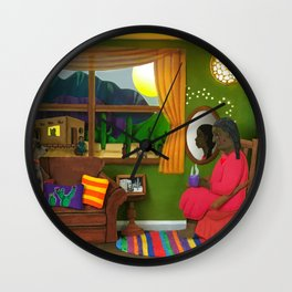 Abuela's Childhood Memories Paper Art Wall Clock