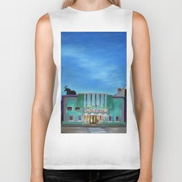 Evening at the Colonial Movie Theater Painting Biker Tank