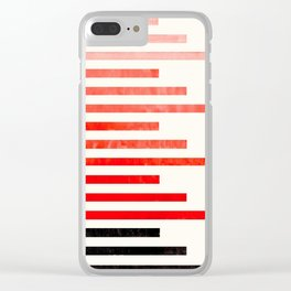 Vermilion Watercolor Gouache Minimalist Modern Stripes Geometric Line Pattern Clear iPhone Case
