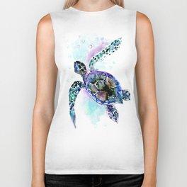 Sea Turtle Underwater Scene Artwork, turquoise blue, gray design beach Biker Tank
