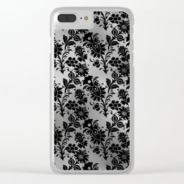 Black and Silver floral Design Clear iPhone Case