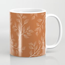 Delicate White Leaves and Branch on a Rust Orange Background Coffee Mug