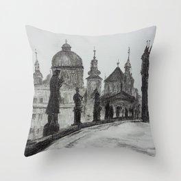 Prague, vintage foto, Charles Bridge, Architecture, Europe Throw Pillow