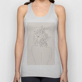 Woman with Flowers Minimal Line I Unisex Tank Top