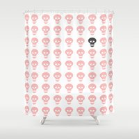 girly Shower Curtains featuring Girly Skulls by LjM deleted account