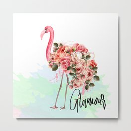 Pink flamingo with roses. Tropical design Metal Print
