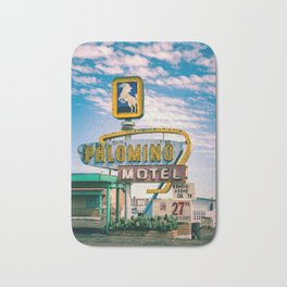Palomino Motel Vintage Neon Sign in Tucumcari New Mexico along Route 66 Bath Mat