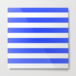 Even Horizontal Stripes, Blue and White, L Metal Print