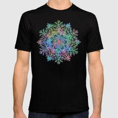 Nature Mandala in Rainbow Hues Black Mens Fitted Tee X-LARGE