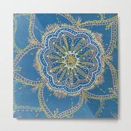 Gold, Silver, Bronze Mandala Metal Print