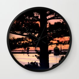 Early morning behind a Norfolk Pine Wall Clock