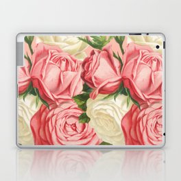 Coral pink blush cream ivory and green summer big roses Laptop & iPad Skin