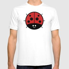 Cutesy Crawlies — Ladybird Mens Fitted Tee SMALL White