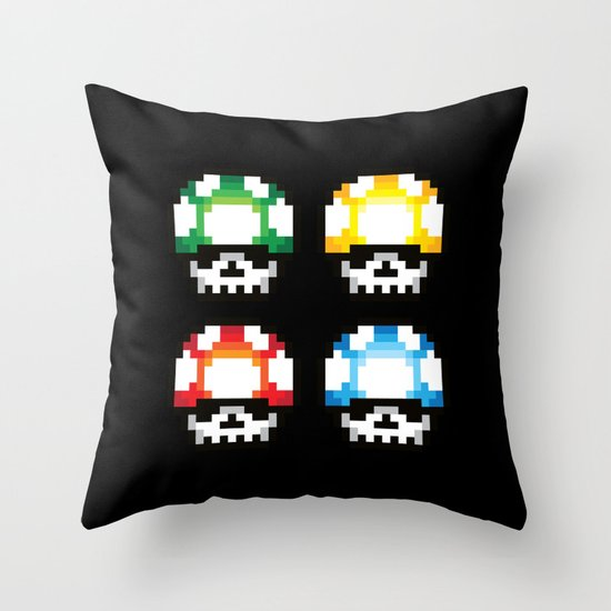 Skull Mushroom Throw Pillow