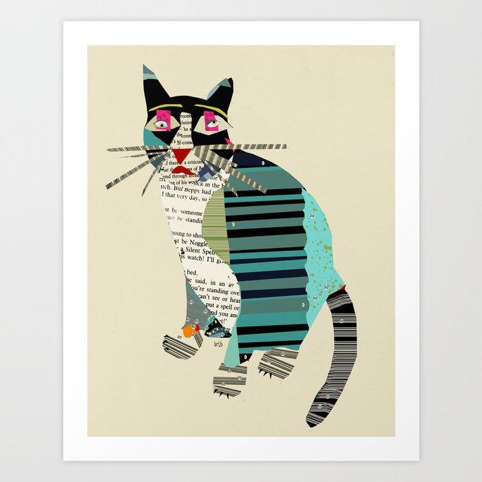 blackberry cat Art Print