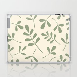 Green on Cream Assorted Leaf Silhouettes Laptop & iPad Skin