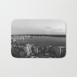 Seattle Summer Sunset from the Needle Panorama in Black and White Bath Mat
