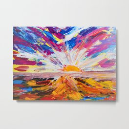 Electric Sunrise Abstract Landscape Painting Metal Print