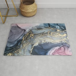 Blush, Payne's Gray and Gold Metallic Abstract Rug