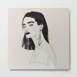 Rihanna blue Metal Print
