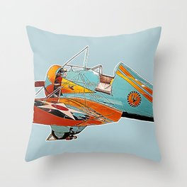 Boeing P-26A Peashooter illustration Throw Pillow