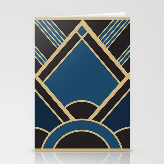 Art Deco New Tomorrow In Blue Stationery Cards