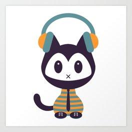 Cute kitten in headphones Art Print