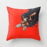 birdman Throw Pillows featuring Birdman by Anna Landin