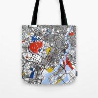 mondrian Tote Bags featuring Tokyo Mondrian by Mondrian Maps
