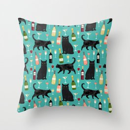 Black cat wine champagne cocktails cat breeds cat lover pattern art print Throw Pillow