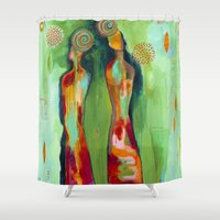 "flora bowley Shower Curtains featuring ""Two Flowers"" Original Painting by Flora Bowley by Flora Bowley"