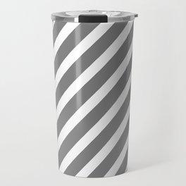 Grey Diagonal Stripes Travel Mug