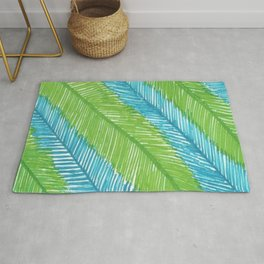 Blue and Green Palm Leaves Rug