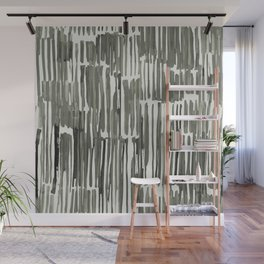 Simply Bamboo Brushstroke Green Tea on Lunar Gray Wall Mural