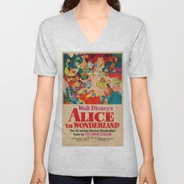 1951 Vintage Alice in Wonderland US Market Film Movie Poster Unisex V-Neck