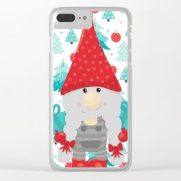 Holiday Gnome with gifts Clear iPhone Case