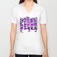 letters V-neck T-shirts featuring letters by Artemio Studio