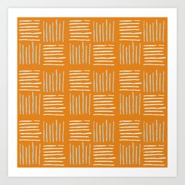 Textile lines pattern on mustard Art Print