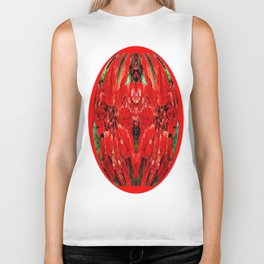 Velvety Red Abstracted Christmas  Florals Biker Tank