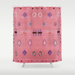 N61 - Lovely Pink Traditional Boho Farmhouse Moroccan Style Artwork Shower Curtain