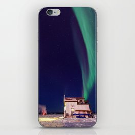 Northern Lights and house boat in Yellowknife iPhone Skin