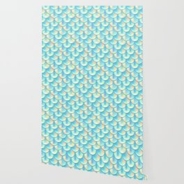 Teal Green Mermaid Pattern, Holographic Fish Scale Print Wallpaper