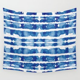 Shibori Vivid Indigo Blue and White Wall Tapestry