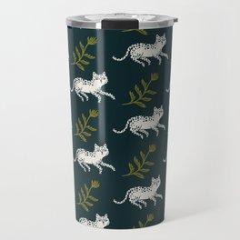 Snow Leopard & Fern Travel Mug