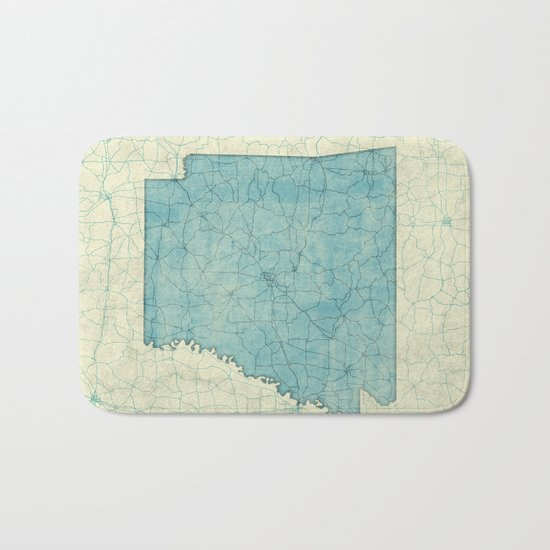 Arkansas State Map Blue Vintage Bath Mat