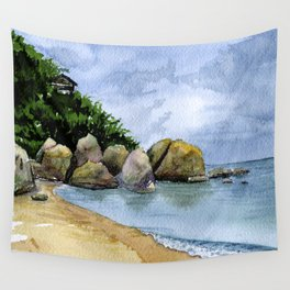 Watercolor Seaside landscape with clouds and stones. Samui Wall Tapestry