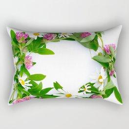 Meadow Flower Garland White Backround #decor #society6 #buyart Rectangular Pillow